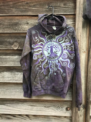 Sage Goddess Purple Tree Of Life Pullover Batik Hoodie - Handcrafted In Organic Cotton hoodie batikwalla Small