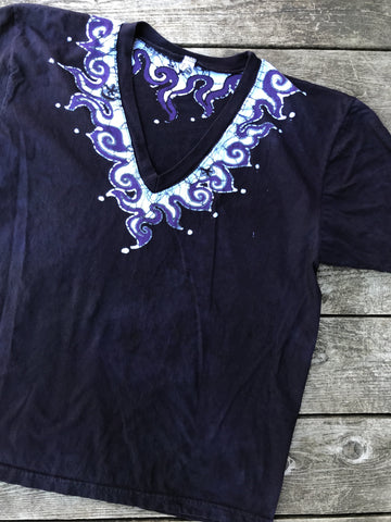 Batik Necklace Tshirt in The Deepest Blue With Purple Highlights - Unisex