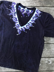 Batik Necklace Organic Cotton Vneck Tshirt in The Deepest Blue With Purple Highlights Tshirts batikwalla Large
