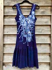 Purple Stars In The Summer Night Batikwalla Dress in Organic Cotton
