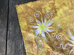Sunshine Star Batik Bandana - Hand Painted Cotton Fabric Square scarf batikwalla