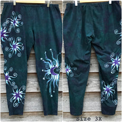 Dark Teal and Purple Stars Batikwalla Yoga Leggings