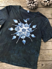 Swirling Leaves Mandala Handmade Batik Scoop Neck Tshirt - Size Large