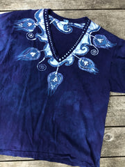 Purple Peacocks Hand Painted Batik Tee Batikwalla by Victoria