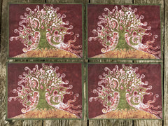 Tree on a Hill Batik Batik Fabric Print
