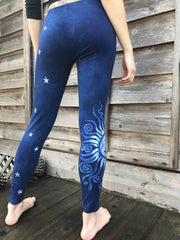 Navy Blue Moon and Stars Batik Leggings
