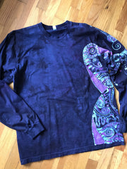 Blue Midnight Magic Long Sleeve Batik Tshirt
