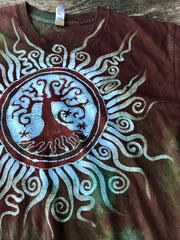 Earth Tree Sun Mandala Handmade Batikwalla Tshirt - Men's Size Large