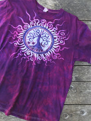 Tree of Life in The Brightest Magenta - Handmade Batik Tshirt - Size Large