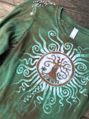 Green Tree of Life Sun Mandala Handmade Long Sleeve Batik Top - Size Small