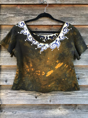 Moon Flames Necklace Semi-Crop Organic Cotton Handmade Batik Top - Medium/Large Batik Dresses Batikwalla