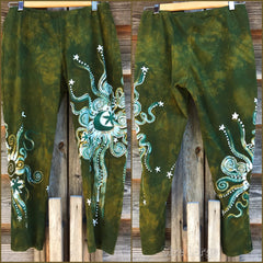 Dancing Green Batik CAPRI Leggings leggings batikwalla Large