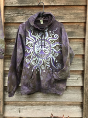 Sage Goddess Purple Tree Of Life Pullover Batik Hoodie - Handcrafted In Organic Cotton hoodie batikwalla XL