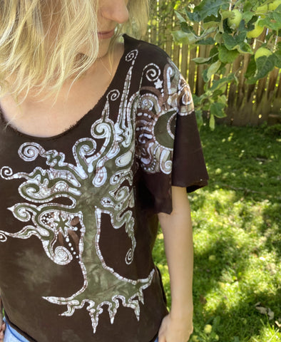 Summer Woods Organic Cotton Handmade Batik Top Medium/Large