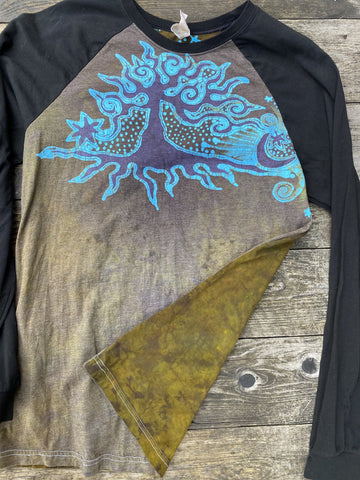 Anomalie - Turquoise Aura Tree Black Raglan Long Sleeve Batik Top by Batikwalla - Size Large
