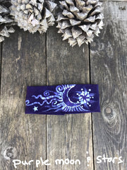 Fold Over Stellar Handmade Headband - by Batikwalla Batikwalla by Victoria dark purple moon and stars