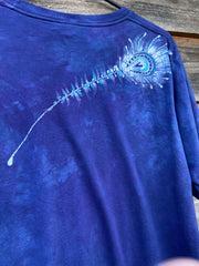 Kissing Peacocks Handmade Blue Batik Tshirt - 2X Long ONLY tshirt batikwalla