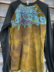 Turquoise Aura Tree Black Raglan Long Sleeve Batik Top by Batikwalla Batikwalla Medium