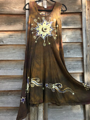 Golden Starquest Boho Batik Summer Dress Batik Dresses Batikwalla XL