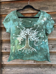 Sage Mint Tree Organic Cotton Handmade Batik Top, Size Large Batik Dresses Batikwalla