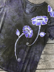 Purple Poppy Flower Power Handmade Batikwalla Vneck Tee - Plus Size 2X