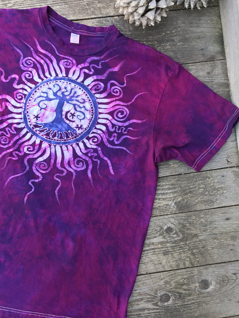 Purple Lovers Tree of Life Organic Tshirt - Size XL