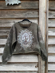 Deep In The Woods Earthy Brown Batik Crop Sweatshirt Tops Batikwalla by Victoria