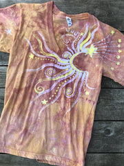 Sunshine Day At The Beach Vneck Tee Batikwalla by Victoria Small