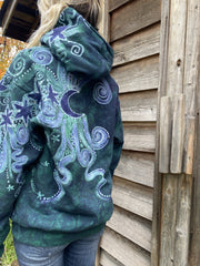 Tree Moon Magic Is Everywhere in Teal and Purple Pullover Hoodie - Handcrafted Batik hoodie batikwalla