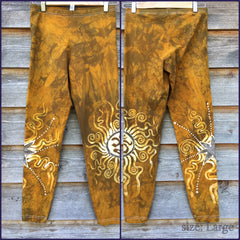 Gold Sun and Stars Batik Leggings -  Om Symbol - Size Large - Batikwalla   - 3