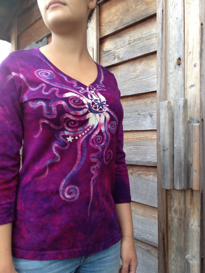 Moonberry Purple Handmade Batik Vneck - Batikwalla   - 1