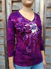 Moonberry Purple Handmade Batik Vneck - Small - Batikwalla   - 3