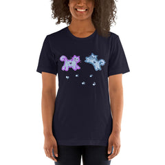 Two Kitties Dancing In Teal And Purple Print Unisex T-Shirt