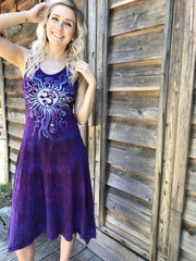 Purple Morning Glories Summer Om Sundress Batik Dresses Batikwalla