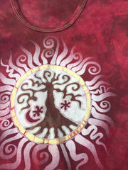 Campfire Red Tree of Life Sun Yoga Tee - Batik Print - Batikwalla   - 6