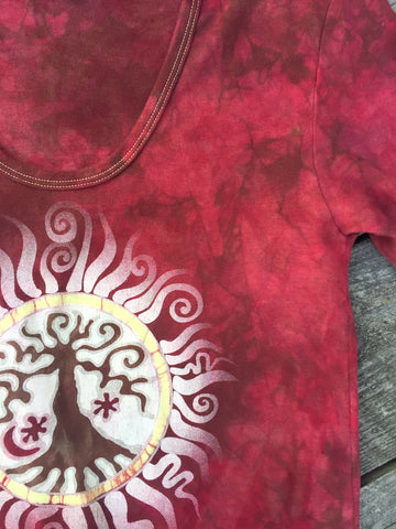 Campfire Red Tree of Life Sun Yoga Tee - Batik Print