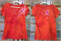 Brilliant Orange Moon Handmade Batik Vneck Tee - Batikwalla   - 9
