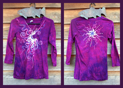 Moonberry Purple Handmade Batik Vneck - Small - Batikwalla   - 4