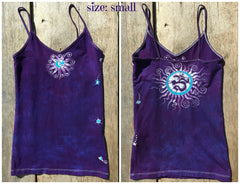 Purple and Turquoise Om Stretchy Batik Vneck Tanktop - Batikwalla   - 4