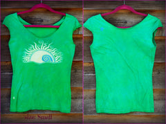 Natural Neon Batik Sunrise Sunset Summer Tee - size Small - Batikwalla   - 2