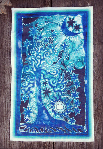 Teal and Purple Tree and Stars Batik Fabric Print