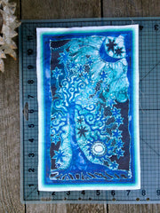 Teal and Purple Tree and Stars Batik Print Patch - Batikwalla   - 2