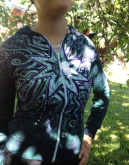 Teal and Purple Batik Star Hoodie - Batikwalla   - 5