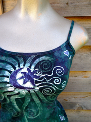 Batik Stretchy Handmade Yoga Tanktop in Teal and Purple - Batikwalla   - 1