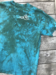 Meadow Mushrooms In Teal and Sage Handmade Batik Tshirt - Size Large ONLY tshirt batikwalla
