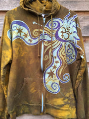 Wild Moon In The Field of Possibilities Handmade Batik Hoodie - Women's Size 2X - Batikwalla   - 1