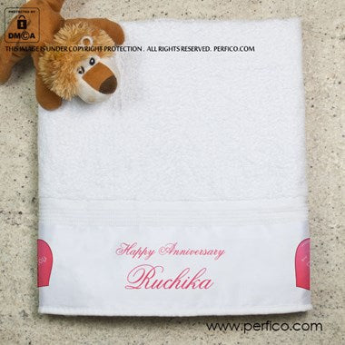 Happy Anniversary Personalized Towel