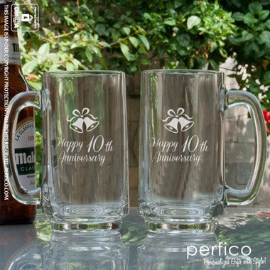 Happy Anniversary Personalized Beer Mugs