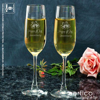 Happy Anniversary Personalized Champagne Glass