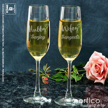 Wife and Hubby Personalized Champagne Glass